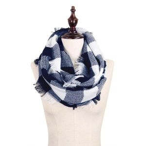 Navy blue and white Infinity scarf